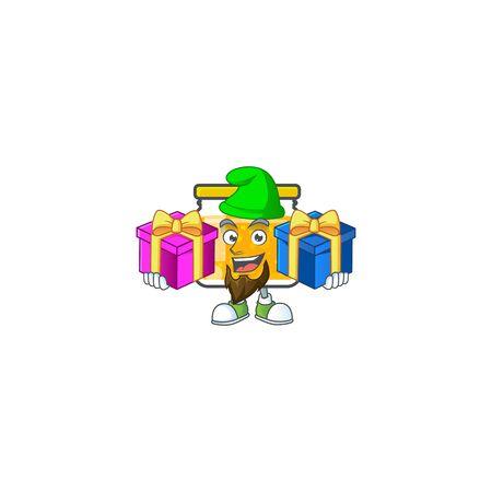 Fresh jam in jar cartoon character bring two gifts. Vector illustration Ilustracja