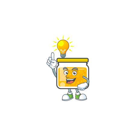 Fresh jam in jar cartoon character have an idea. Vector illustration