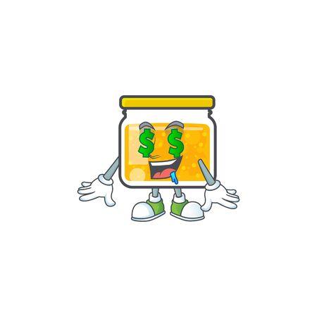 Fresh jam in jar cartoon character money eye. Vector illustration