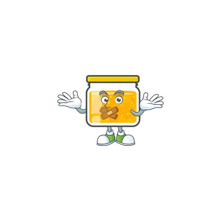 Fresh jam in jar cartoon character silent. Stock Illustratie