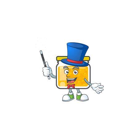 Fresh jam in jar cartoon character magician.