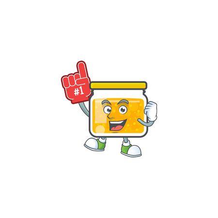 Fresh jam in jar cartoon character foam finger. Ilustrace