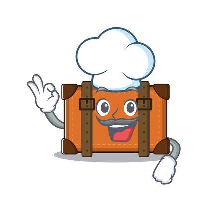suitcase chef in the cartoon with mascot Ilustração