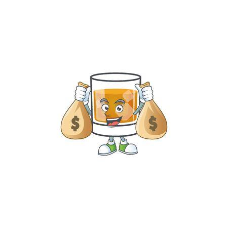 Liquor whiskey in the cartoon character holding money bag. 일러스트
