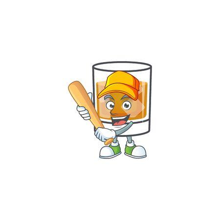 Liquor whiskey in the cartoon character playing baseball.