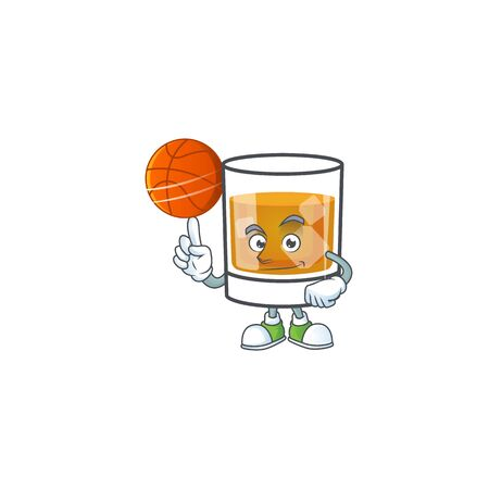 Liquor whiskey in the cartoon character holding basketball.