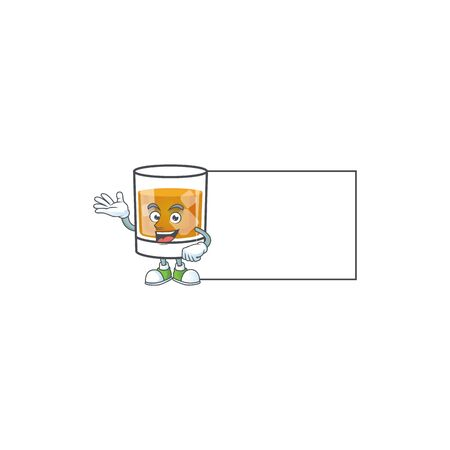 Liquor whiskey in the cartoon character with board. Ilustrace