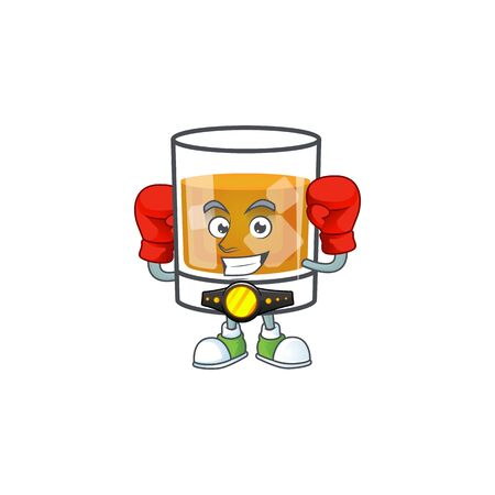 Liquor whiskey in the cartoon character boxing. Ilustrace