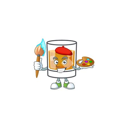 Liquor whiskey in the cartoon character painter. Ilustrace