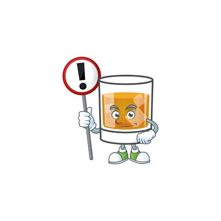 Liquor whiskey in the cartoon character with sign warning. Ilustrace