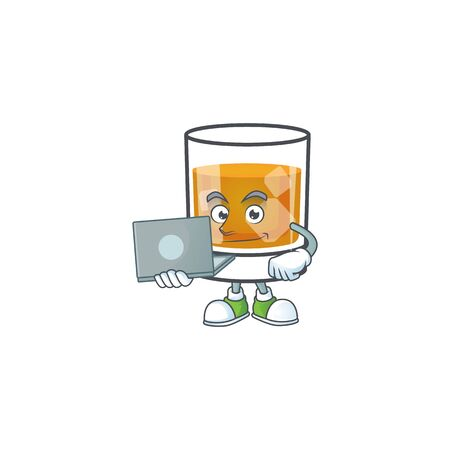 Liquor whiskey in the cartoon character with bring laptop. Ilustrace