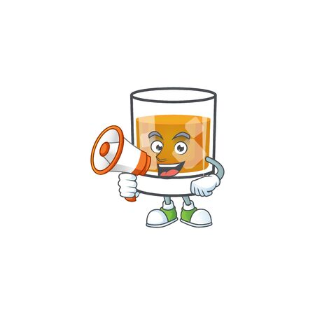 Liquor whiskey in the cartoon character with holding megaphone.