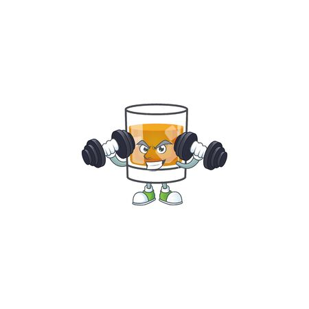 Liquor whiskey in the cartoon character with bring barbell.