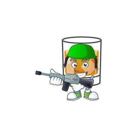 Liquor whiskey in the cartoon character army.