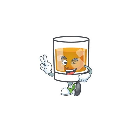 Whiskey in the glass with two finger mascot