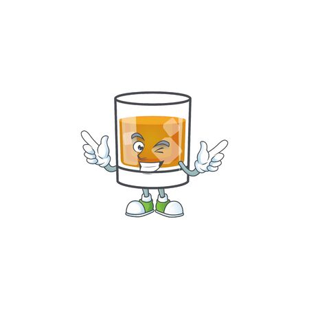 Whiskey in the glass with wink mascot 向量圖像