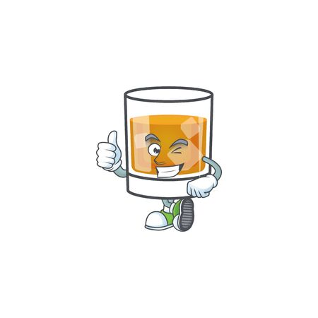 Whiskey in the glass with thumbs up mascot