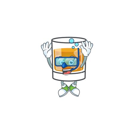 Whiskey in the glass with diving mascot