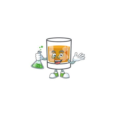 Whiskey in the glass with professor mascot Ilustrace