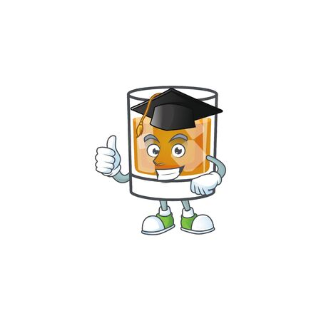 Whiskey in the glass with graduation hat mascot vector illustration