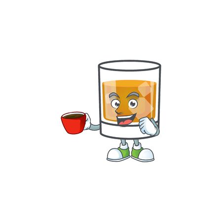 Whiskey in the glass with drinking in cup mascot vector illustration 向量圖像