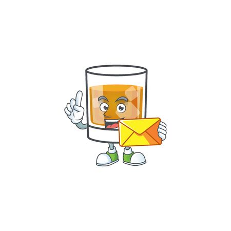 Whiskey in the glass with bring envelope mascot vector illustration Ilustracja