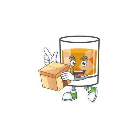 Whiskey in the glass with bring box mascot vector illustration