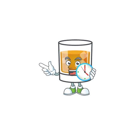 Whiskey in the glass with bring clock mascot vector illustration