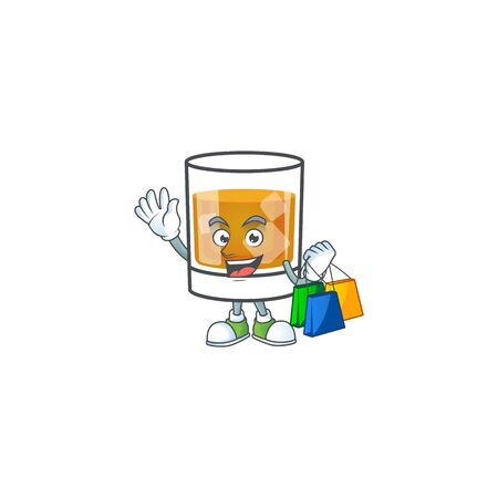 Whiskey in the glass with shopping mascot vector illustration 向量圖像