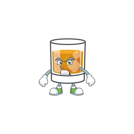 Whiskey in the glass with annoyed mascot vector illustration