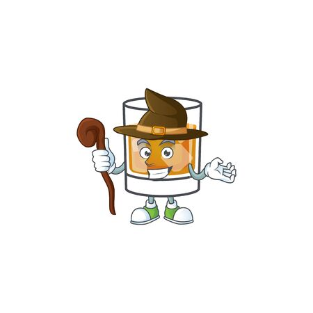 Whiskey with character witch on white background 向量圖像