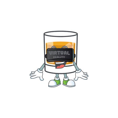 Whiskey with character virtual reality on white background