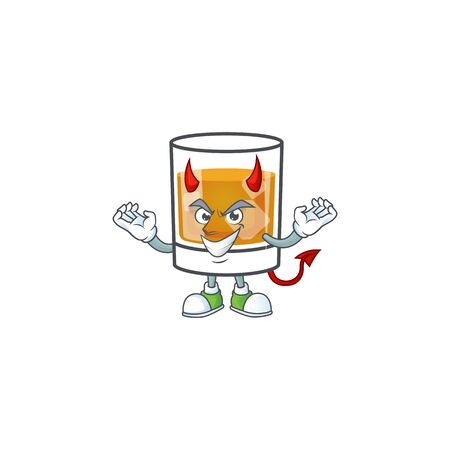 Whiskey with character devil on white background 일러스트