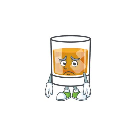 Whiskey with character afraid on white background