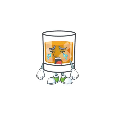 Whiskey with character crying on white background