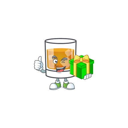 Whiskey with character holding gift on white background