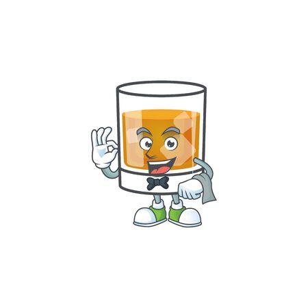 Whiskey with character waiter on white background Illustration