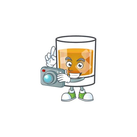 Whiskey with character photographer on white background