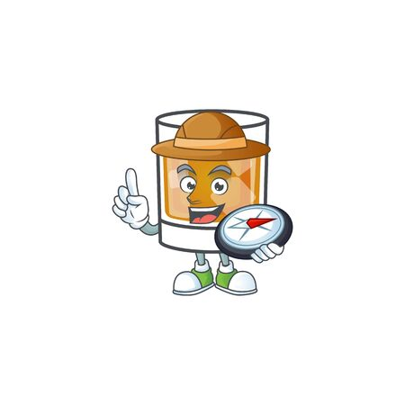 Whiskey with character holding compass on white background 向量圖像