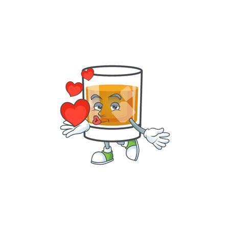 Whiskey with character holding heart on white background Illusztráció