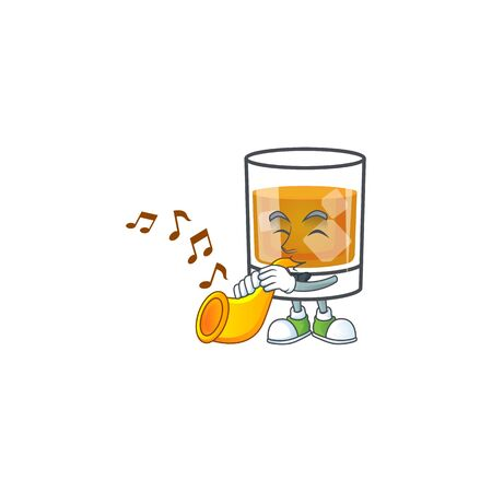 Whiskey with character with trumpet on white background