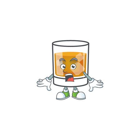 Whiskey with character surprised on white background