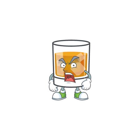 Whiskey with character angry on white background