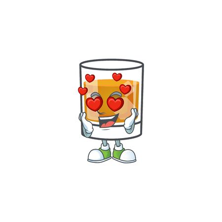 Whiskey with character in love on white background