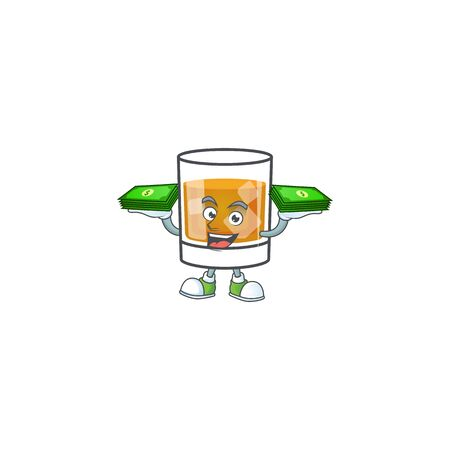 Whiskey with character holding money on white background