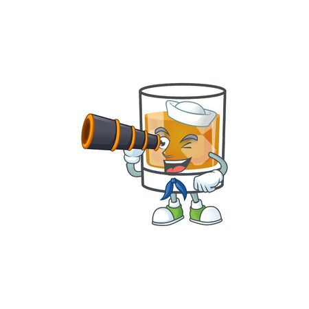 Whiskey with character sailor holding binocular on white background 向量圖像