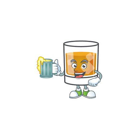 Whiskey with character holding juice on white background