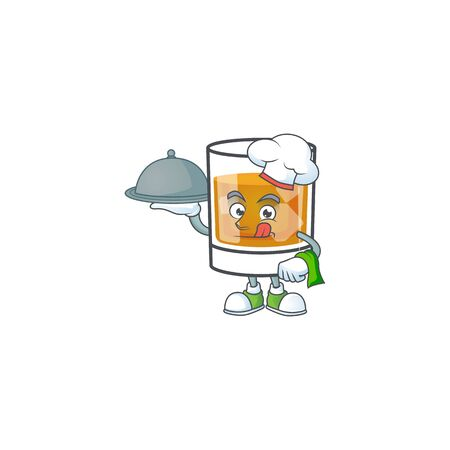 Whiskey with character chef holding food on white background Ilustracja