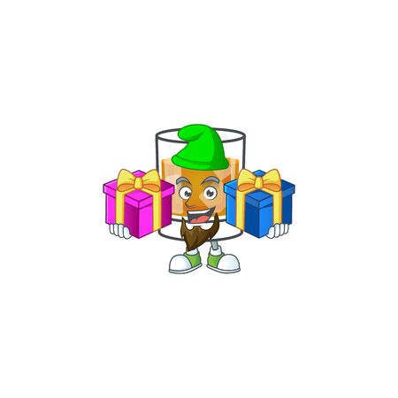 Beverage cold whiskey cartoon character isolated bring two gifts. Ilustrace