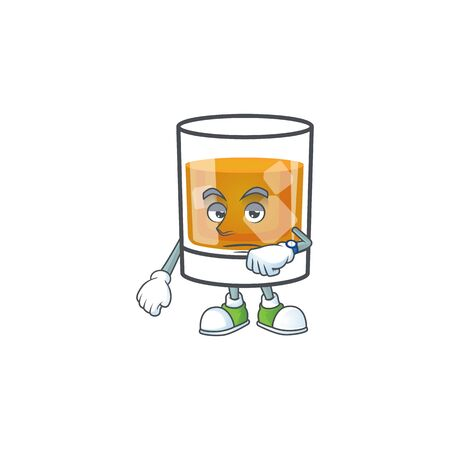 Beverage cold whiskey cartoon character isolated waiting.